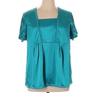 Requirements Shiny Teal Plus Sized Top NWT